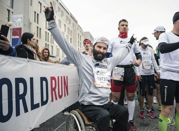 Marian Ligda celebrates during the Wings for Life World Run in Bratislava, Slovakia on May 3, 2015. // Dan Vojtech for Wings for Life World Run // P-20150504-01263 // Usage for editorial use only // Please go to www.redbullcontentpool.com for further information. //