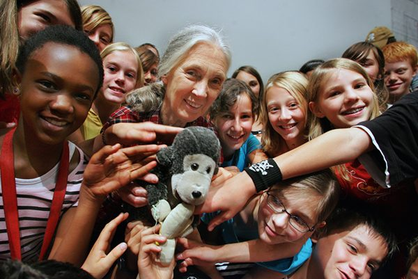 Dr. Jane Goodall with a group of  Roots & Shoots members  in Salzburg, Austria