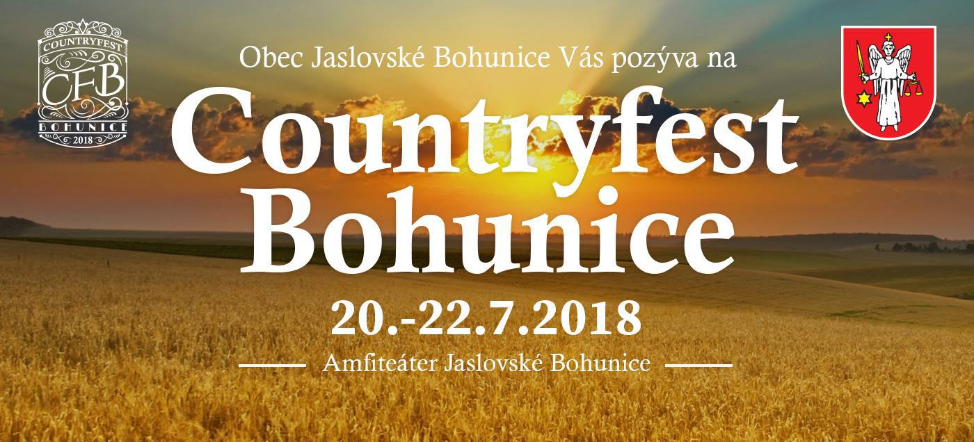 COUNTRYFEST BOHUNICE 2018: Do Jaslovských Bohuníc opäť zavíta kvalitná country a folk.